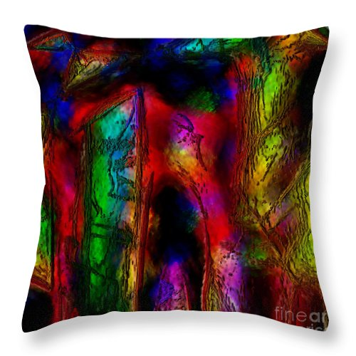 Abstract Throw Pillow featuring the painting Caverns Of The Mind by Dee Flouton