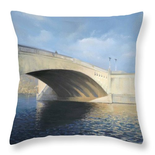 Cavershambridge Throw Pillow featuring the painting Caversham Bridge by Richard Picton