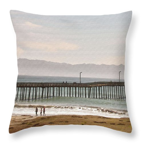 Pier Throw Pillow featuring the digital art Caycous Pier II by Sharon Foster