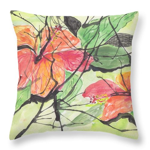 Abstract Cayena Flowers Throw Pillow featuring the painting Cayenas Atrapadas Hibiscus by Ivonne Sequera