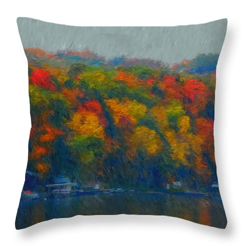 Digital Painting Throw Pillow featuring the photograph Cayuga Autumn by David Lane