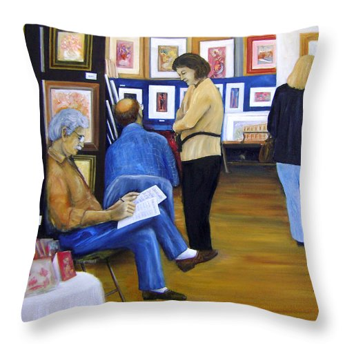 Art Shows Throw Pillow featuring the painting Cba Art Show 2008 by Leonardo Ruggieri