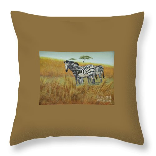Bushes Throw Pillow featuring the painting Cebras In Rhino Park by Juan Enrique Marquez