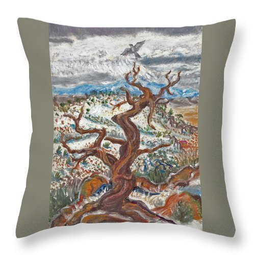 Landscape Throw Pillow featuring the painting Cedar And Singing Bird by Dawn Senior-Trask