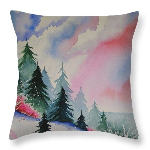 Snow Throw Pillow featuring the painting Cedar Fork Snow by Karen Stark