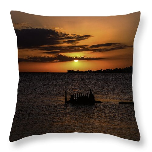 Seascapes Throw Pillow featuring the photograph Cedar Key Sunset by Terry Cooper
