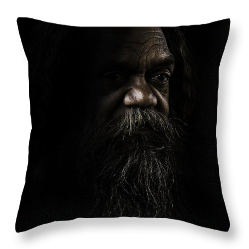 Fullblood Aborigine Throw Pillow featuring the photograph Cedric In Shadows by Sheila Smart Fine Art Photography