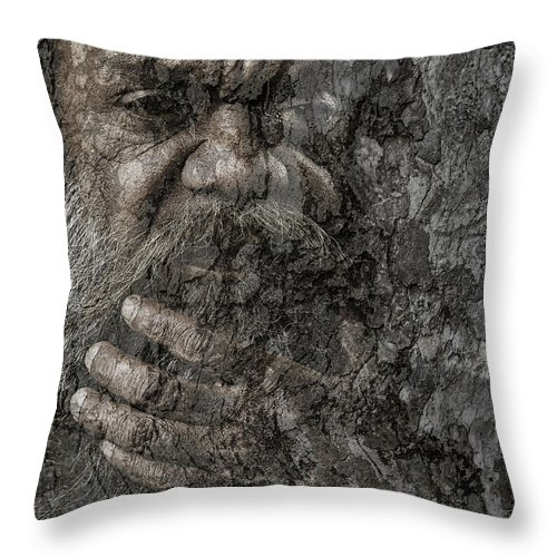Busker Throw Pillow featuring the photograph Cedric with hand on beard by Sheila Smart Fine Art Photography