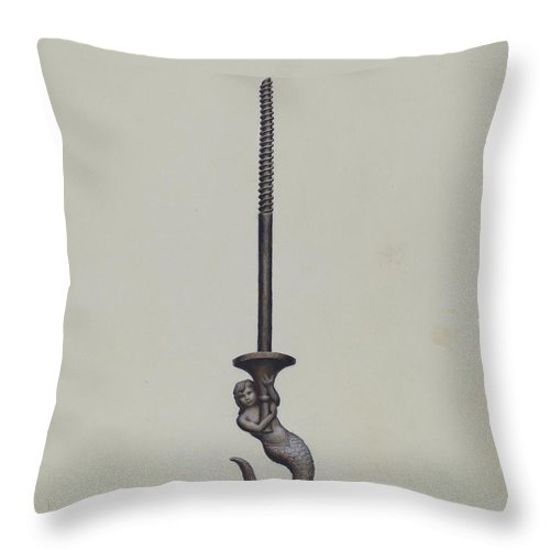 Throw Pillow featuring the drawing Ceiling Hook by Henrietta S. Hukill