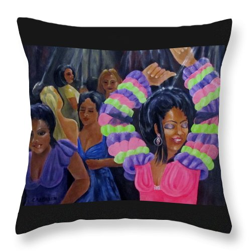Dancers Throw Pillow featuring the painting Celebration by Carol Allen Anfinsen