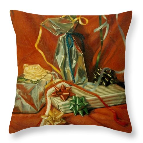 Red Throw Pillow featuring the pastel Celebration by Constance Drescher