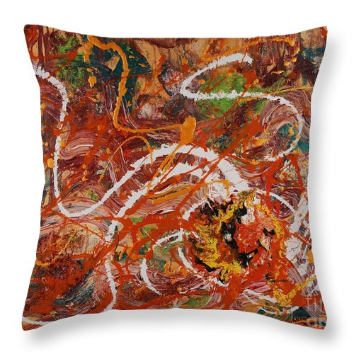 Orange Throw Pillow featuring the painting Celebration II by Nadine Rippelmeyer