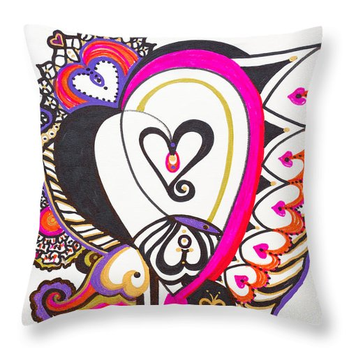 Heart Throw Pillow featuring the painting Celebration - IIi by Laurel Rosenberg