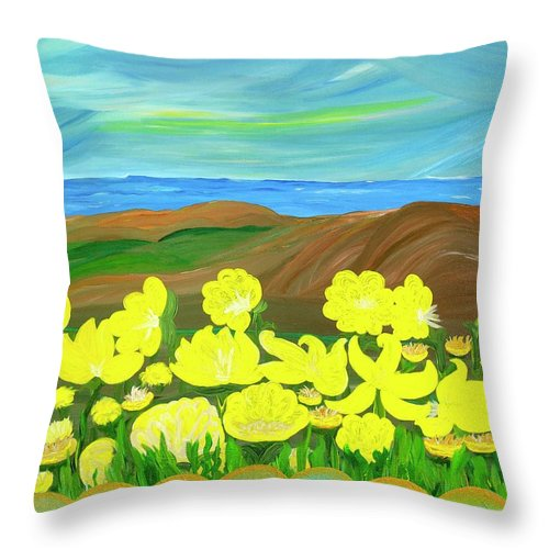 Landscape Throw Pillow featuring the painting Celebration by Sara Credito