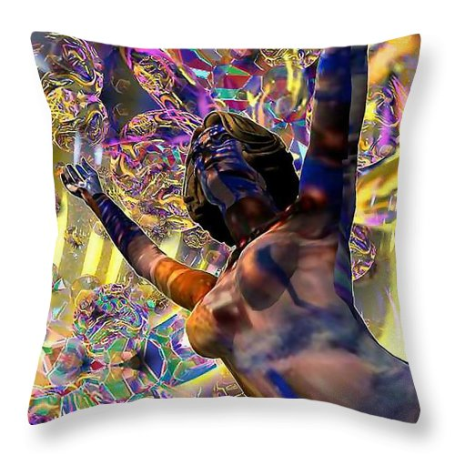 Woman Throw Pillow featuring the digital art Celebration Spirit by Dave Martsolf
