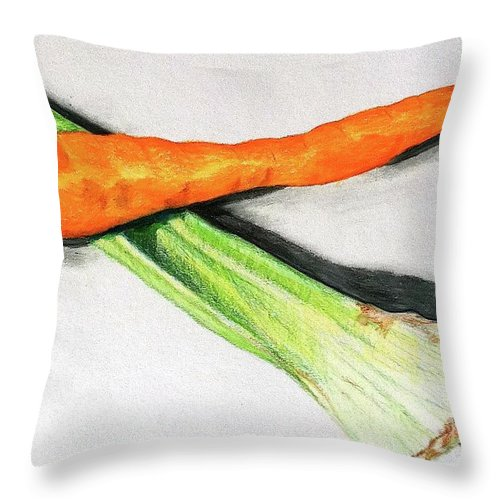 Vegetables Throw Pillow featuring the drawing Celery And Carrot Together by Sheron Petrie