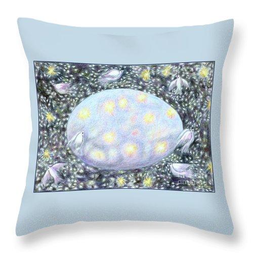 Lise Winne Throw Pillow featuring the mixed media Celestial Egg by Lise Winne
