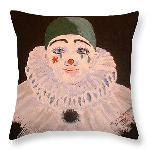 Clowns Throw Pillow featuring the painting Celine The Clown by Arlene Wright-Correll