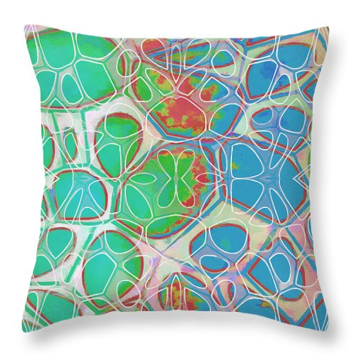 Painting Throw Pillow featuring the painting Cell Abstract 10 by Edward Fielding