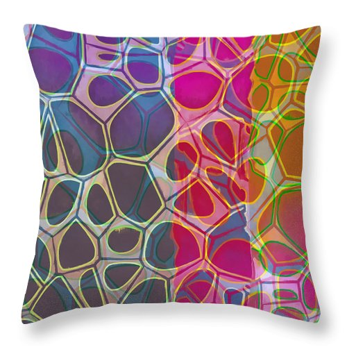 Painting Throw Pillow featuring the painting Cell Abstract 11 by Edward Fielding