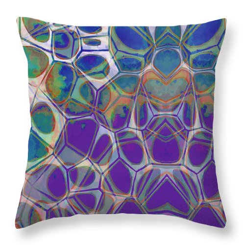 Painting Throw Pillow featuring the painting Cell Abstract 17 by Edward Fielding