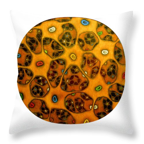Cells Throw Pillow featuring the drawing Cell Network by Nancy Mueller