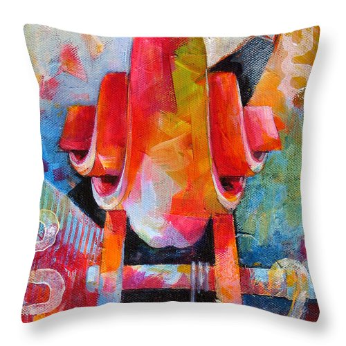 Musical Artwork Throw Pillow featuring the painting Cello Head In Blue And Red by Susanne Clark