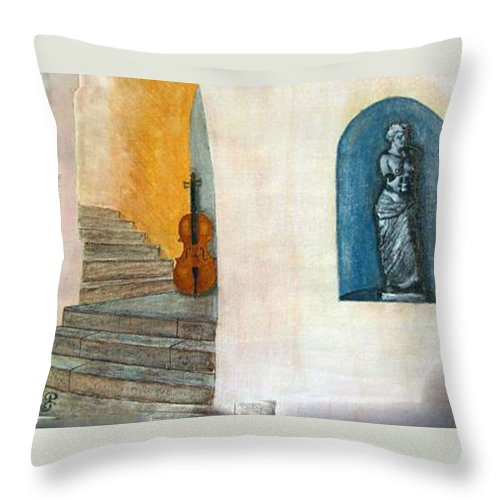 Cello Throw Pillow featuring the painting Cello No 2 by Richard Le Page
