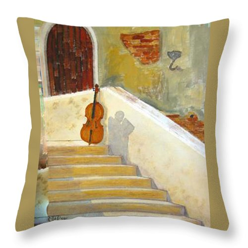 Cello Throw Pillow featuring the painting Cello No 3 by Richard Le Page