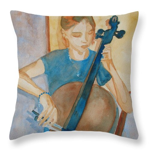 Girl Throw Pillow featuring the painting Cello Practice Iv by Jenny Armitage
