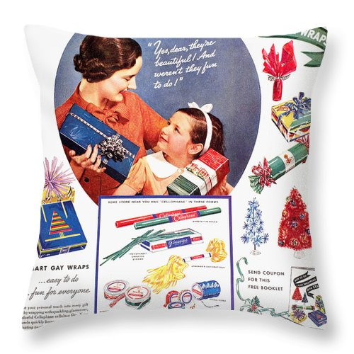 1937 Throw Pillow featuring the photograph Cellophane, 1937 by Granger