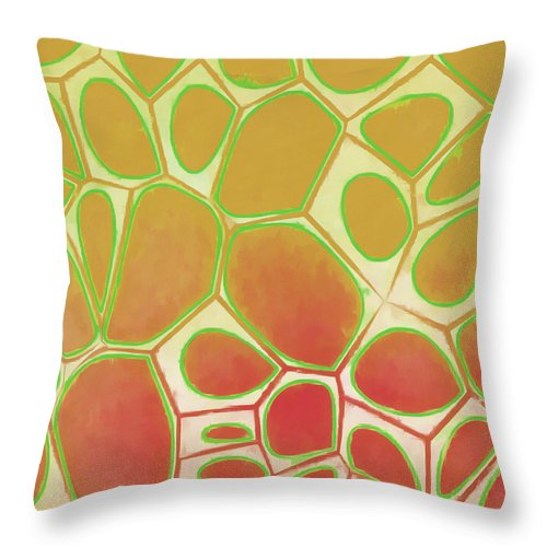 Painting Throw Pillow featuring the painting Cells Abstract Five by Edward Fielding