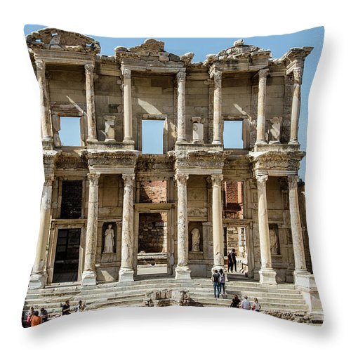 Turkey; Ephesus; Buildings; Ruins; Archeology; Throw Pillow featuring the photograph Celsus Library by Kathy McClure