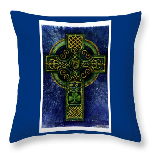 Elle Fagan Throw Pillow featuring the painting Celtic Cross - Harp by Elle Smith Fagan