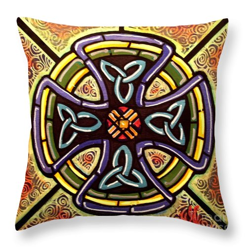 Celtic Throw Pillow featuring the painting Celtic Cross 2 by Jim Harris