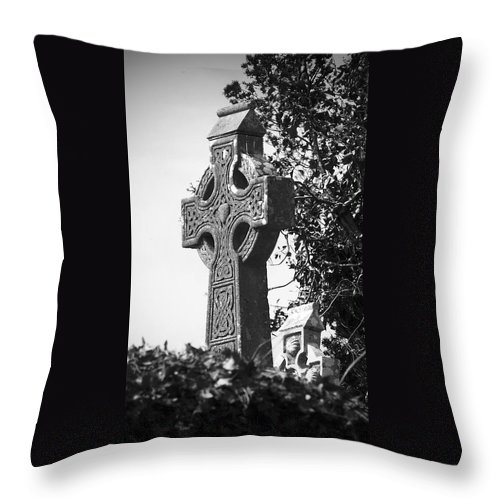 Celtic Throw Pillow featuring the photograph Celtic Cross at Fuerty Cemetery Roscommon Ireland by Teresa Mucha
