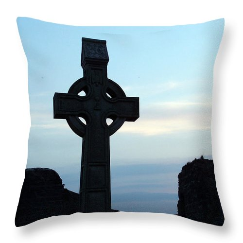 Irish Throw Pillow featuring the photograph Celtic Cross At Sunset Donegal Ireland by Teresa Mucha