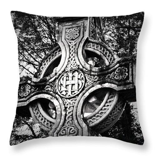 Irish Throw Pillow featuring the photograph Celtic Cross Detail Killarney Ireland by Teresa Mucha