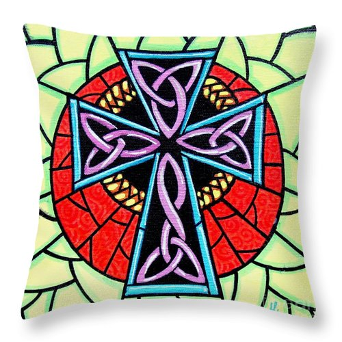 Celtic Throw Pillow featuring the painting Celtic Cross by Jim Harris