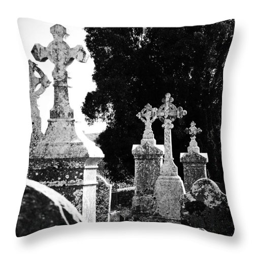 Celtic Throw Pillow featuring the photograph Celtic Crosses At Fuerty Cemetery Roscommon Ireland by Teresa Mucha
