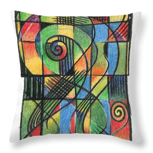 Celtic Throw Pillow featuring the drawing Celtic Cruciform by Andy Mercer