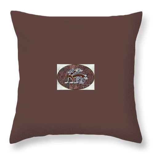Tags: Throw Pillow featuring the digital art Celtic Hound On Marble by Brett Genda