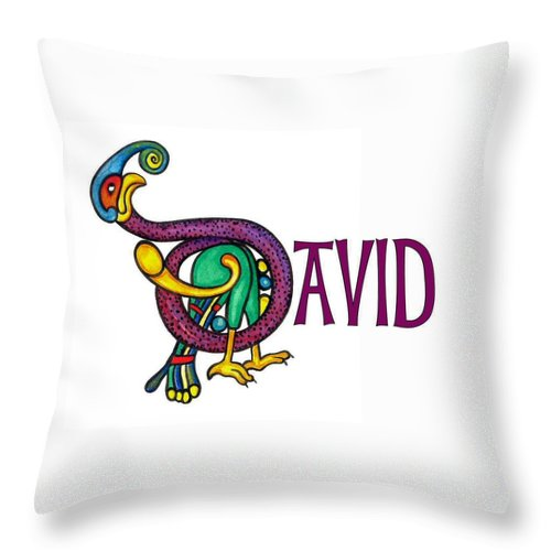 Celtic Throw Pillow featuring the painting Decorative Celtic Name David by Frances Gillotti