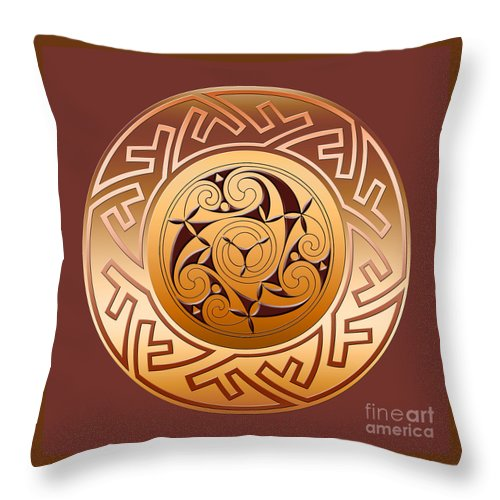 Celtic Throw Pillow featuring the digital art Celtic Spiral and Key Pattern by Melissa A Benson