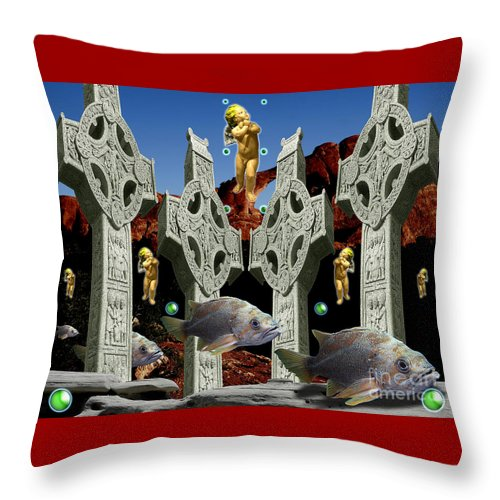 Landscape Throw Pillow featuring the digital art Celtic Valley by Keith Dillon
