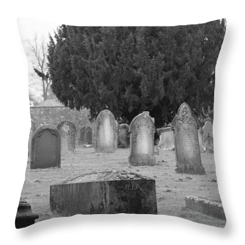 Cemetery Throw Pillow featuring the photograph Cemetery Church Of St. Mary Wedmore by Lauri Novak