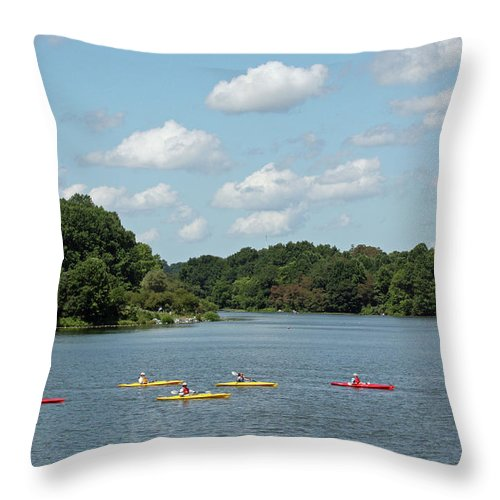 Maryland Throw Pillow featuring the photograph Centennial Lake Kayaks by Ronald Reid