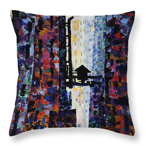Urban Throw Pillow featuring the painting Center Street by Yelena Tylkina