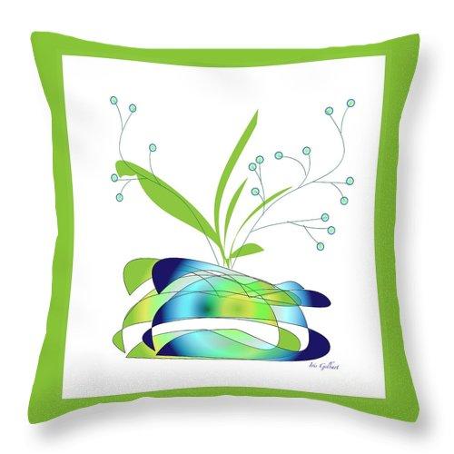 Vase Throw Pillow featuring the digital art Centerpiece 3 by Iris Gelbart