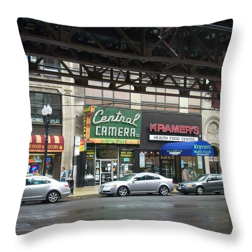 Chicago Throw Pillow featuring the photograph Central Camera On Wabash Ave by Anita Burgermeister